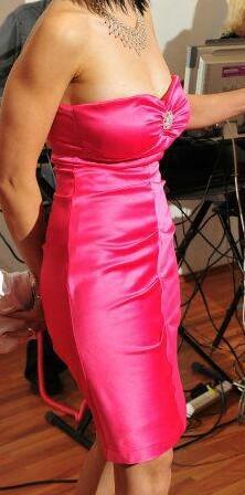 cyklamenové šaty značkové, 38
