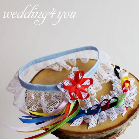 The Retro Hippie Wedding - vývazky & podvazek,