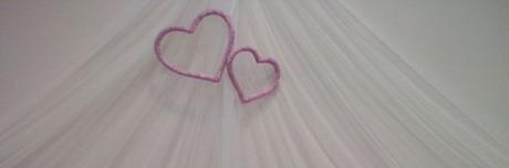 Dekoracia za hlavny stol - srdcia,
