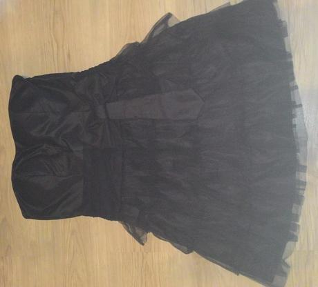 Cierne kratke šaty s mašlou, 38