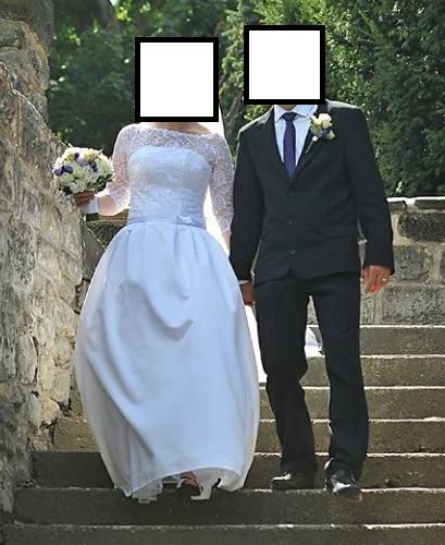 Korzetové šaty s bohatou sukní a krajkovým vrškem, 40
