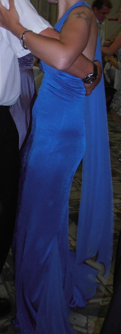 Modré dlhé spoločenské šaty v.36, 36
