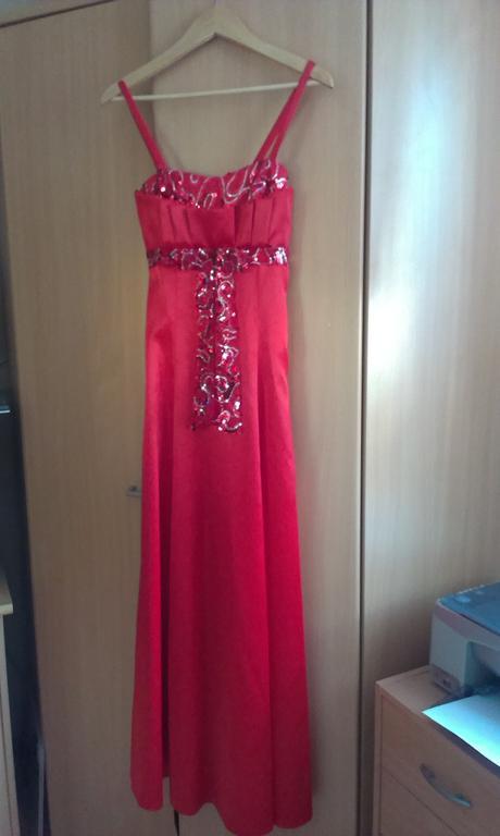 saténové červené spoločenské šaty v.36, 36