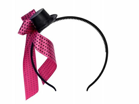 Čelenka s růžovou mašličkou a kloboučkem,