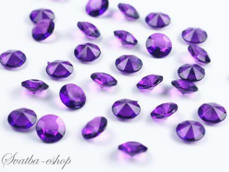 Dekorační diamanty 12 mm purpurově fialové,
