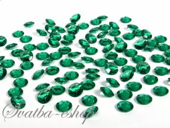 Dekorační diamanty 12 mm smaragdově zelené,