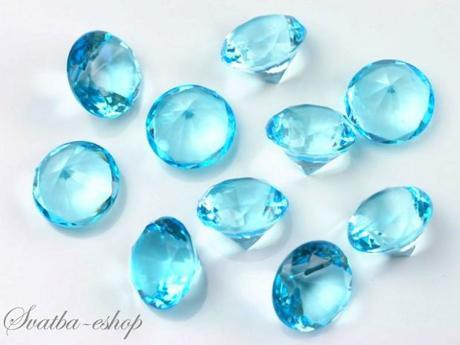 Dekorační diamanty 20 mm tyrkysově modré,