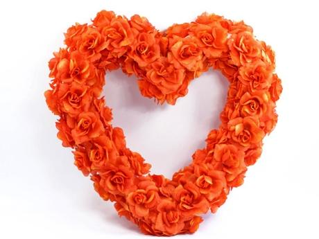 Dekorační srdce oranžové,