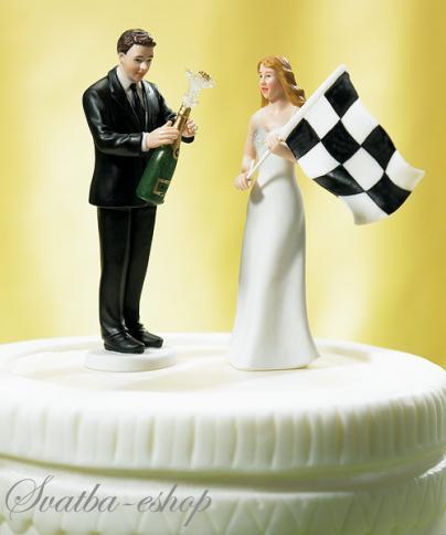 """Figurka na svatební dort """"Beru si závodníka"""","""