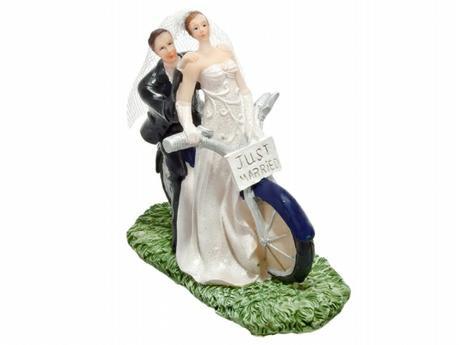 Figurka Nevěsta a ženich na motorce,