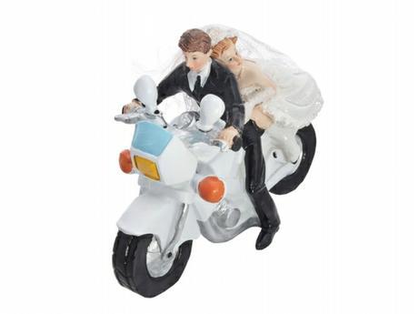 Figurka Nevěsta a ženich na silniční motorce,