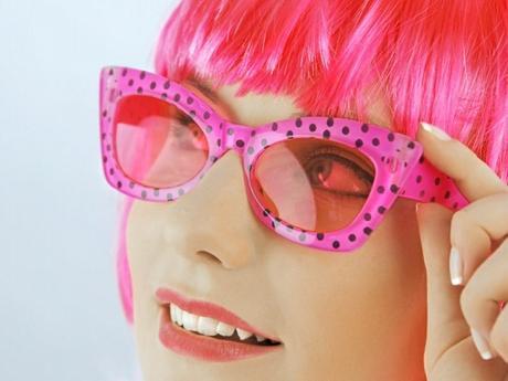 Párty brýle růžové s puntíky,