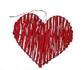 Srdce z ratanu červené,