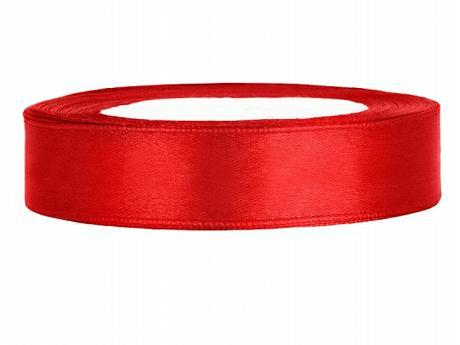 Stuha saténová 12 mm x 25 m červená,