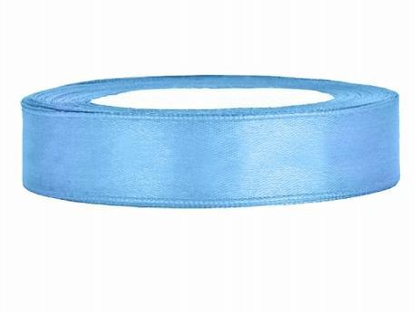 Stuha saténová 12 mm x 25 m světle modrá,