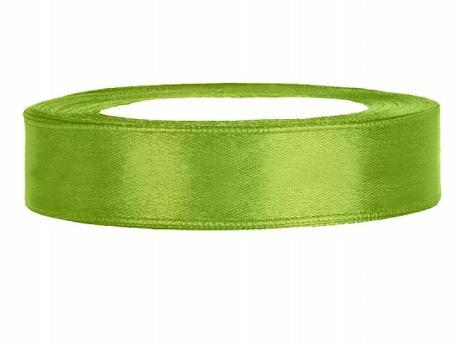 Stuha saténová 12 mm x 25 m světle zelená,