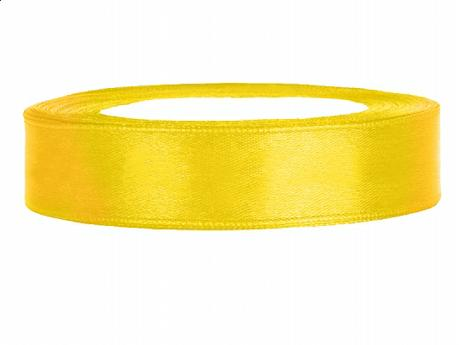 Stuha saténová 12 mm x 25 m žlutá,