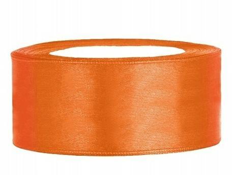 Stuha saténová 25 mm x 25 m oranžová,