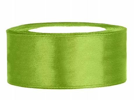 Stuha saténová 25 mm x 25 m světle zelená,