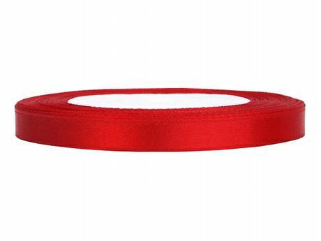 Stuha saténová 6 mm x 25 m červená,