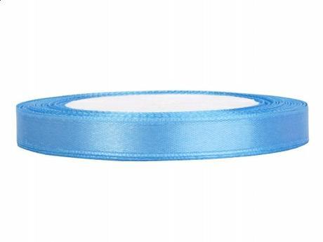 Stuha saténová 6 mm x 25 m světle modrá,