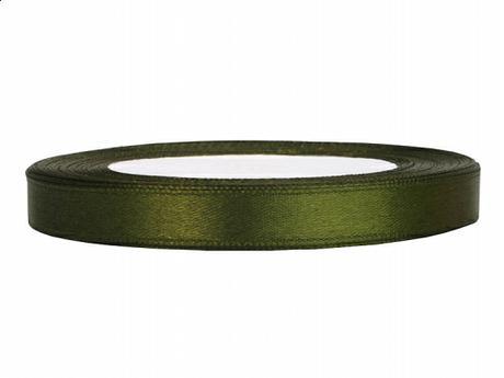 Stuha saténová 6 mm x 25 m tmavě zelená,