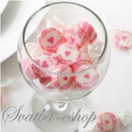 Svatební bonbon Just married růžový,