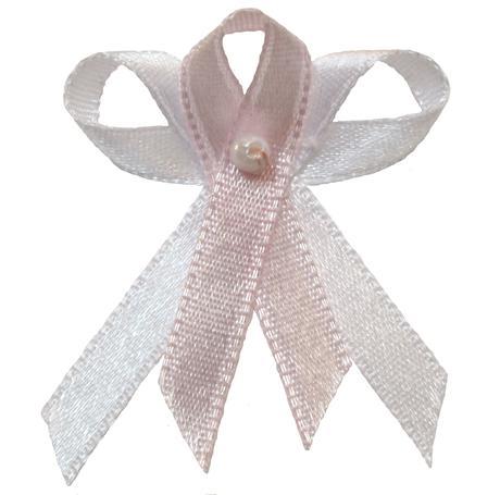 Svatební vývazek bílo světle růžový,