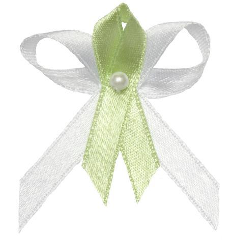 Svatební vývazek bílo světle zelený,