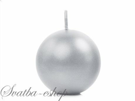 Svíčka koule ø 60 mm perlěťová stříbrná,