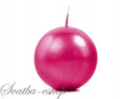 Svíčka koule ø 60 mm perlěťová sytě růžová,