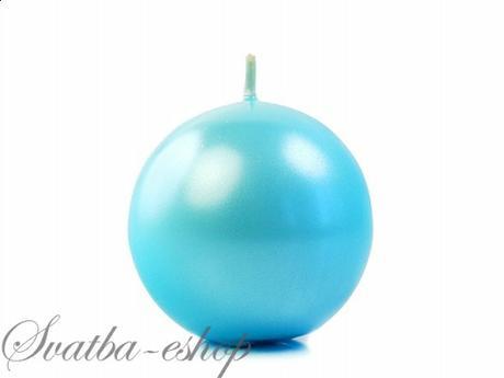 Svíčka koule ø 60 mm perlěťová tyrkysově modrá,