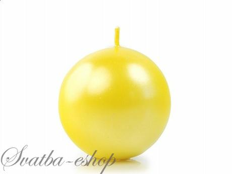 Svíčka koule ø 60 mm perlěťová žlutá,