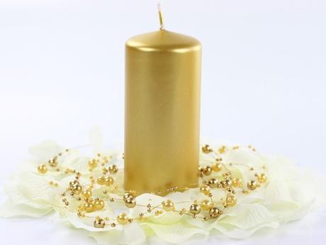 Svíčka válec zlatá 60mm x 120 mm,