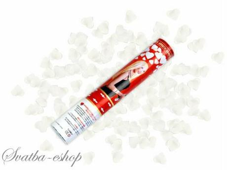 Vystřelovací konfety bílá srdíčka 40 cm,