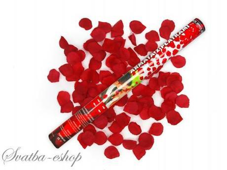 Vystřelovací konfety burgundy plátky růží 60 cm,