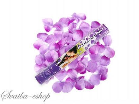 Vystřelovací konfety fialové plátky růží 40 cm,