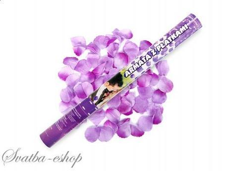 Vystřelovací konfety fialové plátky růží 60 cm,