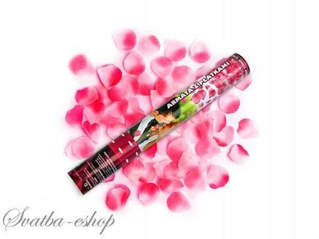 Vystřelovací konfety růžové plátky růží 40 cm,