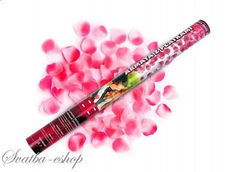 Vystřelovací konfety růžové plátky růží 60 cm,