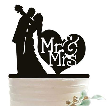 Cake Topper - Mr a Mrs v srdci,