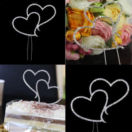 Cake topper - štrasová srdce,