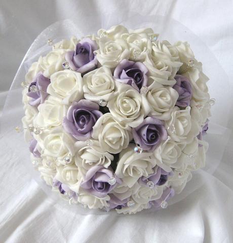 Svatební kytice - jednoduchá - bílá+lila,