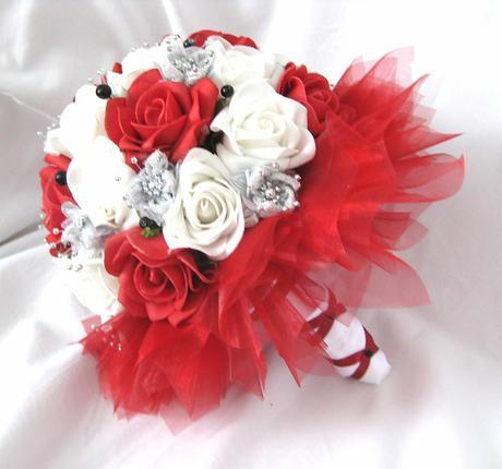 Svatební set bílá, červená, stříbrná,