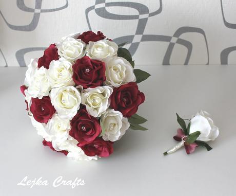 Svatební set - bílá+rudá,