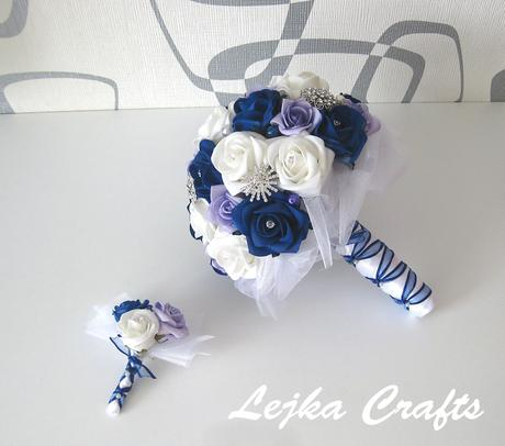 Svatební set - modré a fialkové růže,