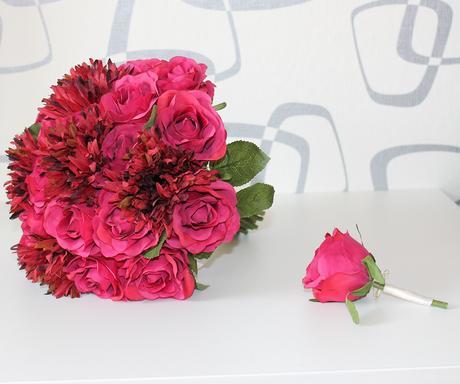Svatební set - rudé růže a gerbery,