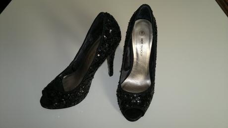 Čierne flitrované high heels , 36