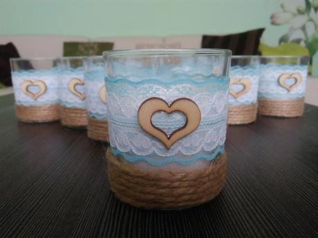 Modré vintage vonné sviečky s jutovinou 9ks,