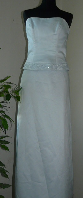 svetlomodrý korzet a dlhá sukňa, 36